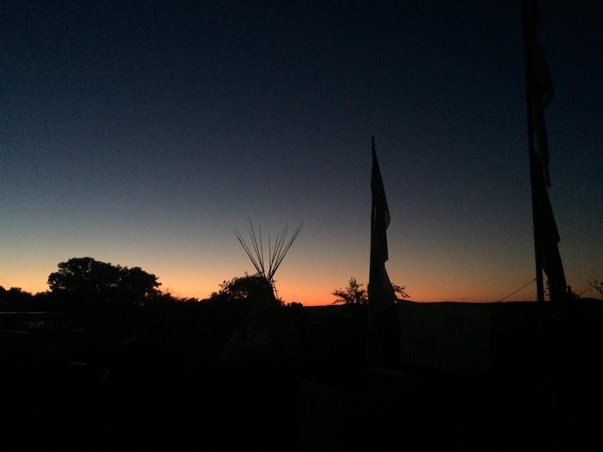 Sacred Stone Spirit Camps at sunset (Photo: Nadya Tannous)